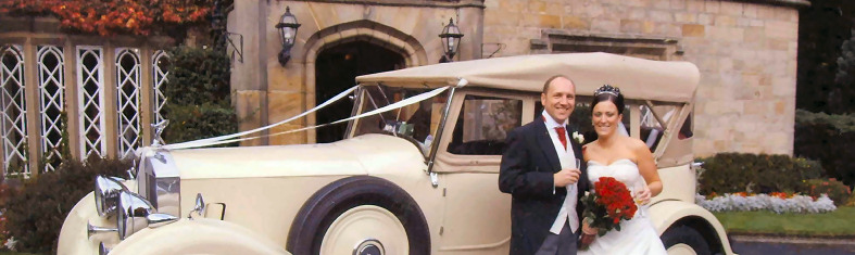 Convertible Rolls Royce Wedding Car at Oakwood Hall